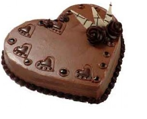 Romantic chocolate dessert with valentine cake theme